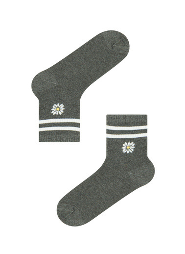 Penti Penti PHT5ZOI621IY Cool Lıttle Daısy Soket Çorap Gri